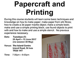 Papercraft and Printing Course - St Ives Cornwall